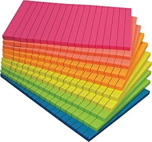 Lined Sticky Notes, 4 x 6, 10 Pack, 500 Sheets (50/Pad), Self Stick Notes with Lines, 6 Bright Assorted Colors, by Better Office Products, Post Memos, Strong Adhesive, 10 Pads