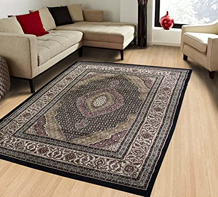Amazon Com Harmony Black Traditional Rugs 8x10 Allover Pattern