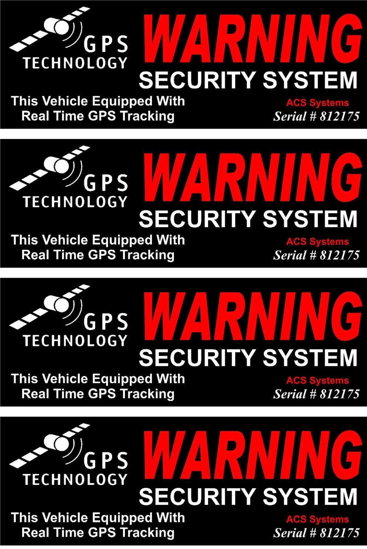 4 Set Credible Unique Warning GPS Tracking Security System Technology This Vehicle Equipped with Real Time Inside Adhesive Sticker Sign Under Cameras Protect Video Surveillance Decals Size 4.5''x1.5''