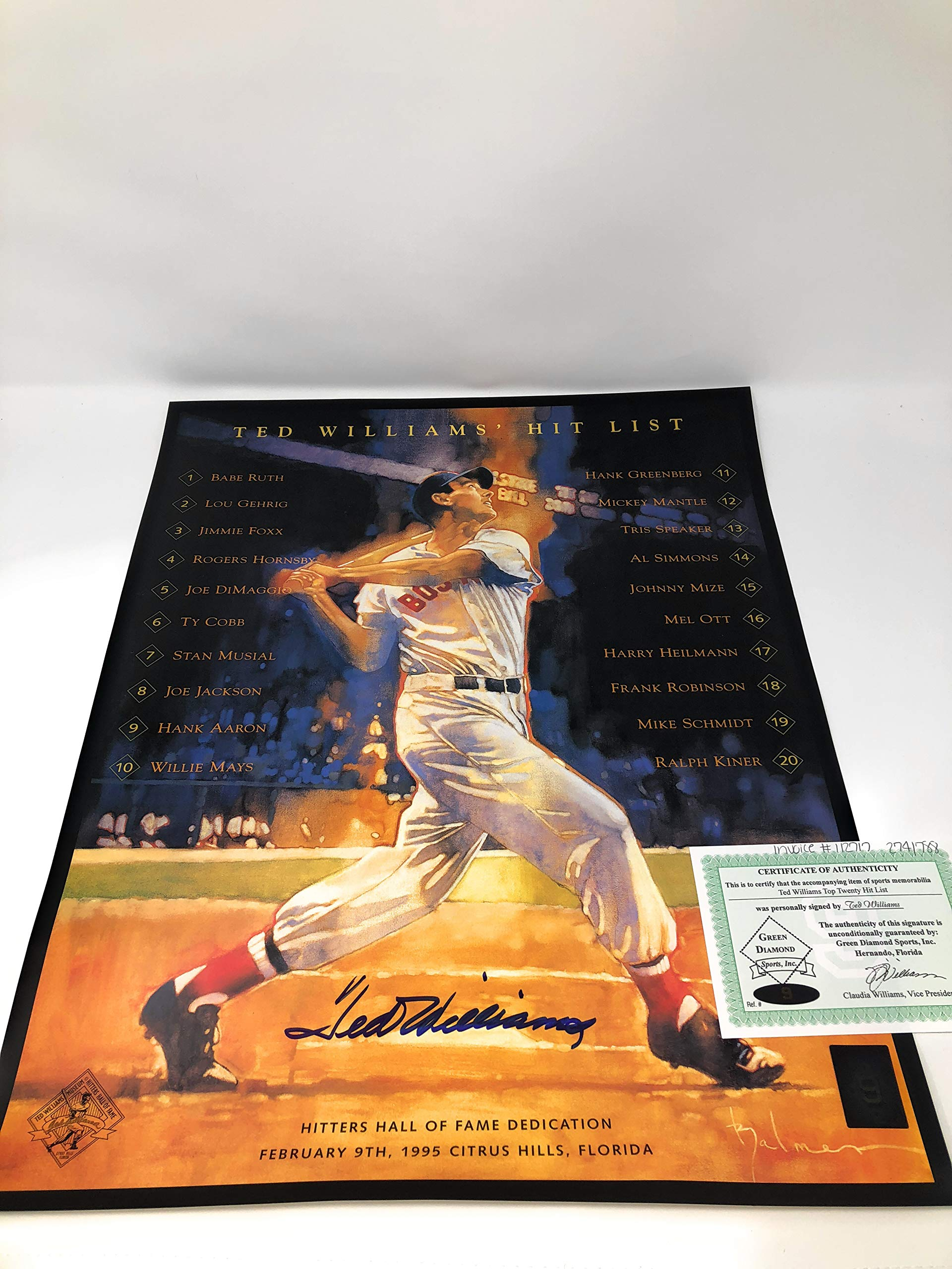 Ted Williams Boston Red Sox Signed Autograph 16x20 Photo Photograph Green Diamond Williams Certified