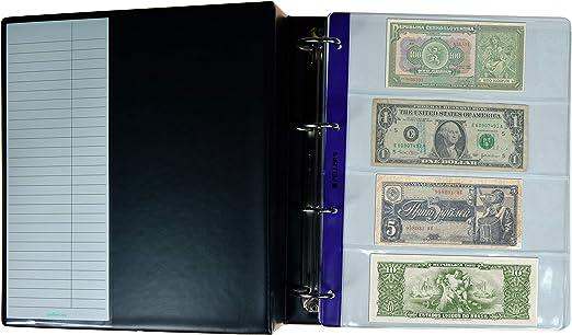 Pellers Álbum de Colección, 35 Billetes y Cheques de Tamaño Mixto, 15 Departamentos, 20 Alojamientos 219mm x 75mm, 10 Fundas y Cartulinas Separadoras, Negro, Modelo XL: Amazon.es: Hogar