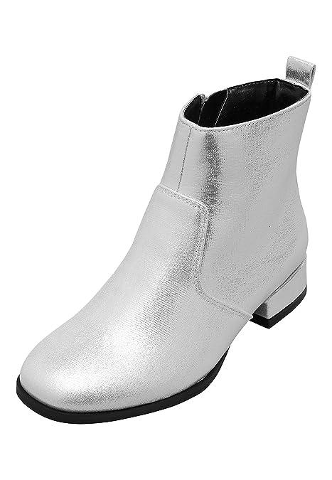 next Niñas Botines con Puntura Cuadrada (Niña Mayor) Plateado EU 30.5: Amazon.es: Zapatos y complementos