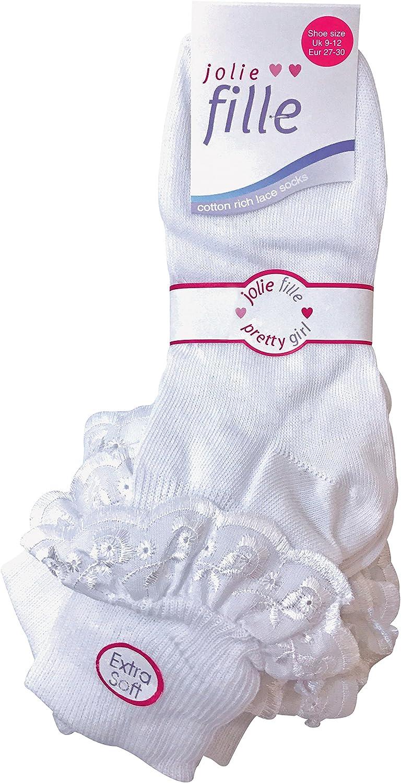 Sock Snob 6 paia di Donna,bianca Pizzo Calzini di cotone Tutte le misure
