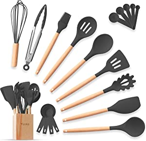 Silicone Cooking Utensils Kitchen Utensils Set 20pcs Natural Bamboo Handles Non-Stick BPA-Free Non-Scratch Cookware W/Wooden Holder Spatula Measuring Cups & Spoons Set Kitchen Gadget (Black Gray)
