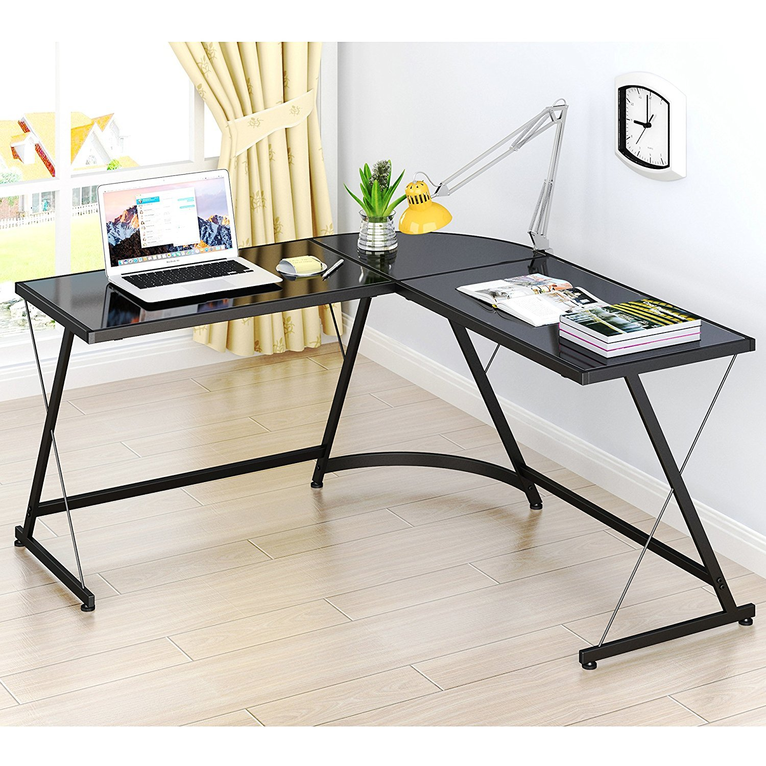 Amazon SHW L Shaped Home fice Corner Desk Kitchen & Dining