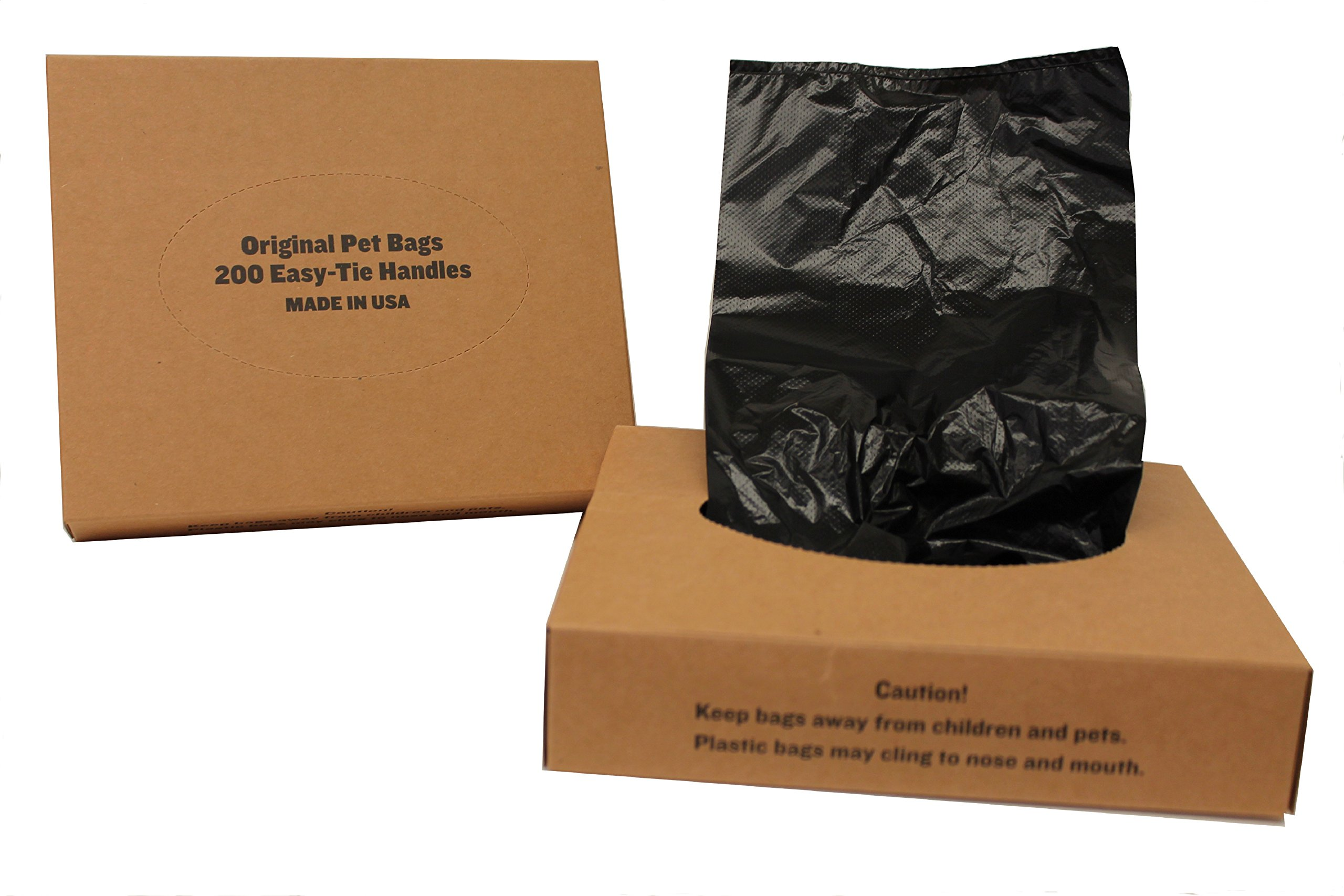 Originalpetbags 400 Black Unscented Easy Open & Easy-tie Handle. Large 15'' Long, Strong Leak- Proof Poop Bags, Dog Waste Bags Made in USA (not on rolls)