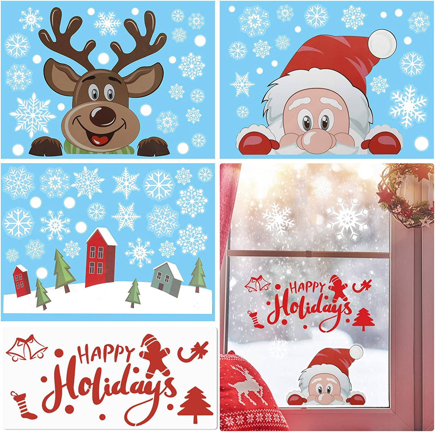 Christmas Sticker Set, Xmas Window Clings Sticker Snowflake Santa Claus Reindeer Happy Holidays Painting Stencils for Window Glass Decorations Home Decals