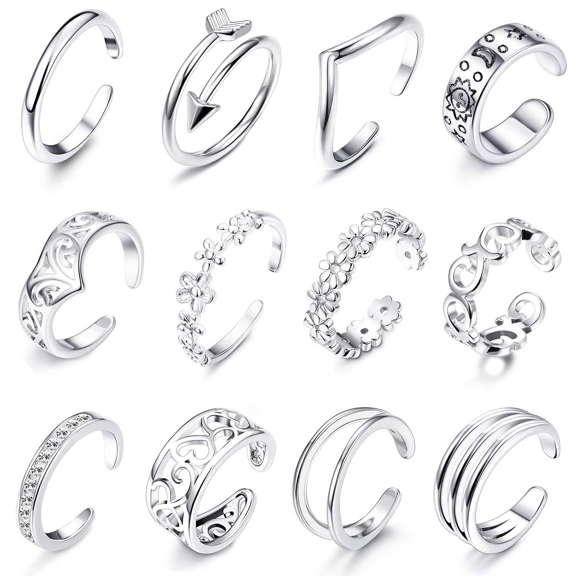 LOLIAS 12Pcs Open Toe Rings for Women Girls Arrow Adjustable Toe Band Ring Gifts Jewelry Set,Silver