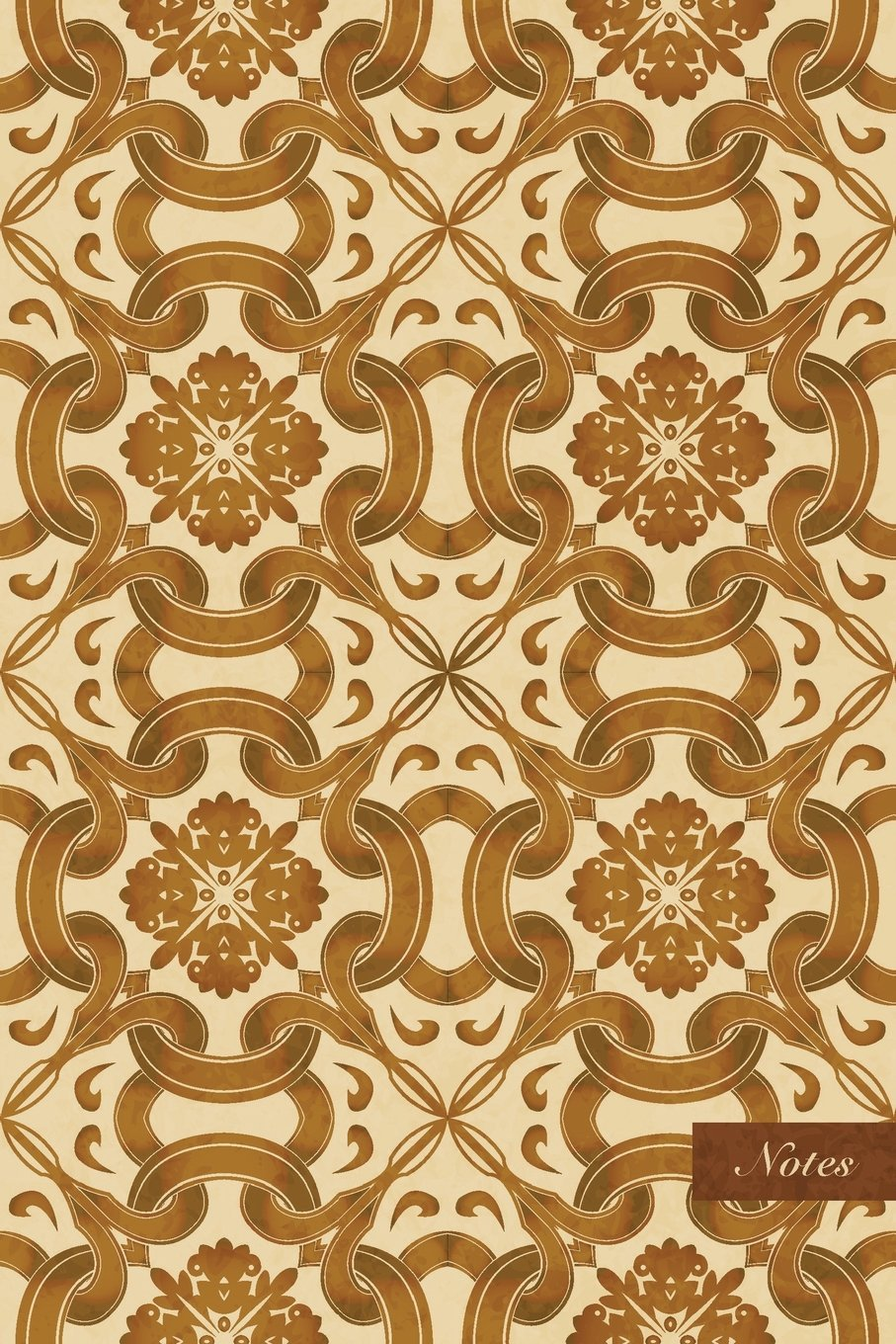 "Download Notes: 6""x9"" Ruled Lined Notebook - Round Curve Cross Vine PLant Flower Kaleidoscope - Retro Brown Worn Out Vintage Seamless Pattern Cover. Matte Softcover And Cream Interior Papers. ebook"