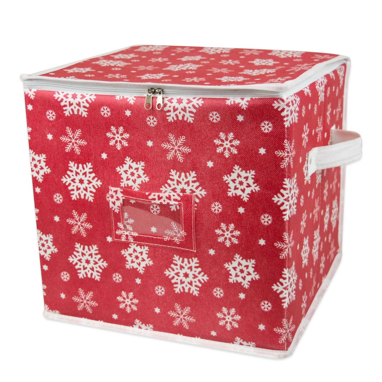 DII Holiday Ornament Storage Bin with Dividers & Separators to Protect Fragile Christmas Tree Decorations (Holds 48 Ball Decorations) - Holiday Stripe, Small CAMZ35754