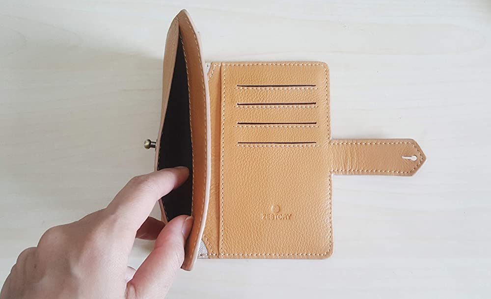 and Pen Ticket Currencies Boarding Pass Cards Documents ZESTORY Handmade Soft Yellow Mustard Genuine Leather Travel Wallet Organizer Front Pocket Hold 2 Passports