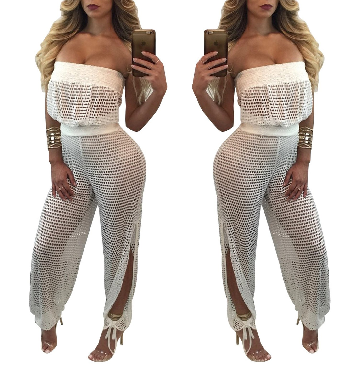 Prettyever Stylish Black Lace Side Zipper Bag Big Hip Cashew Lace Jumpsuit,White,S