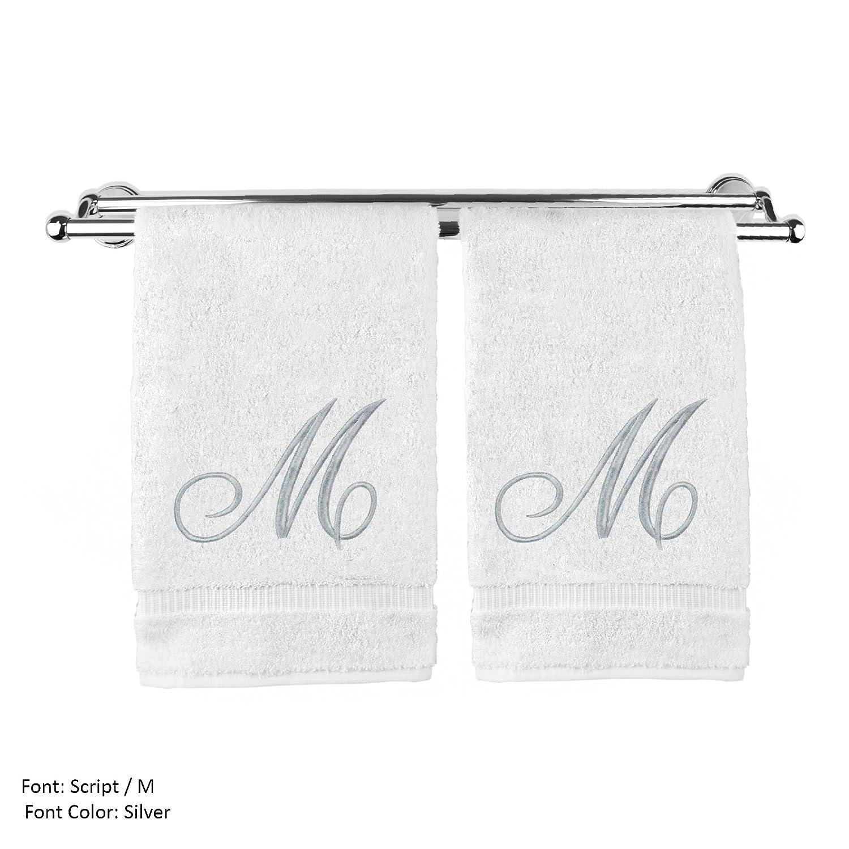 Monogram 専用ハンドタオル ゲストタオル ウェディング婚約記念ギフト 2 Hand Towel-Silver Script Initial M ホワイト 85-713-864-101 B075H1K9HD 2 Hand Towel-Silver Script Initial M|ホワイト ホワイト 2 Hand Towel-Silver Script Initial M