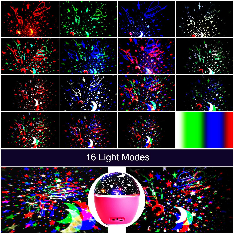 L/ámpara de Nocturna Estrellas /& Oc/éano 2 in 1 con Rotaci/ón y M/úsica Temporizaci/ón y Remoto Bluetooth 10 Modos de Luz planetario proyector Estrellas para Cumplea/ños y Fiesta GRDE L/ámpara Proyector