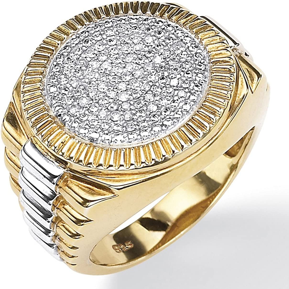Men's 18K Yellow Gold over Sterling Silver Round Genuine Diamond Pave Two Tone Ribbed Ring (1/6 cttw, I Color, I3 Clarit
