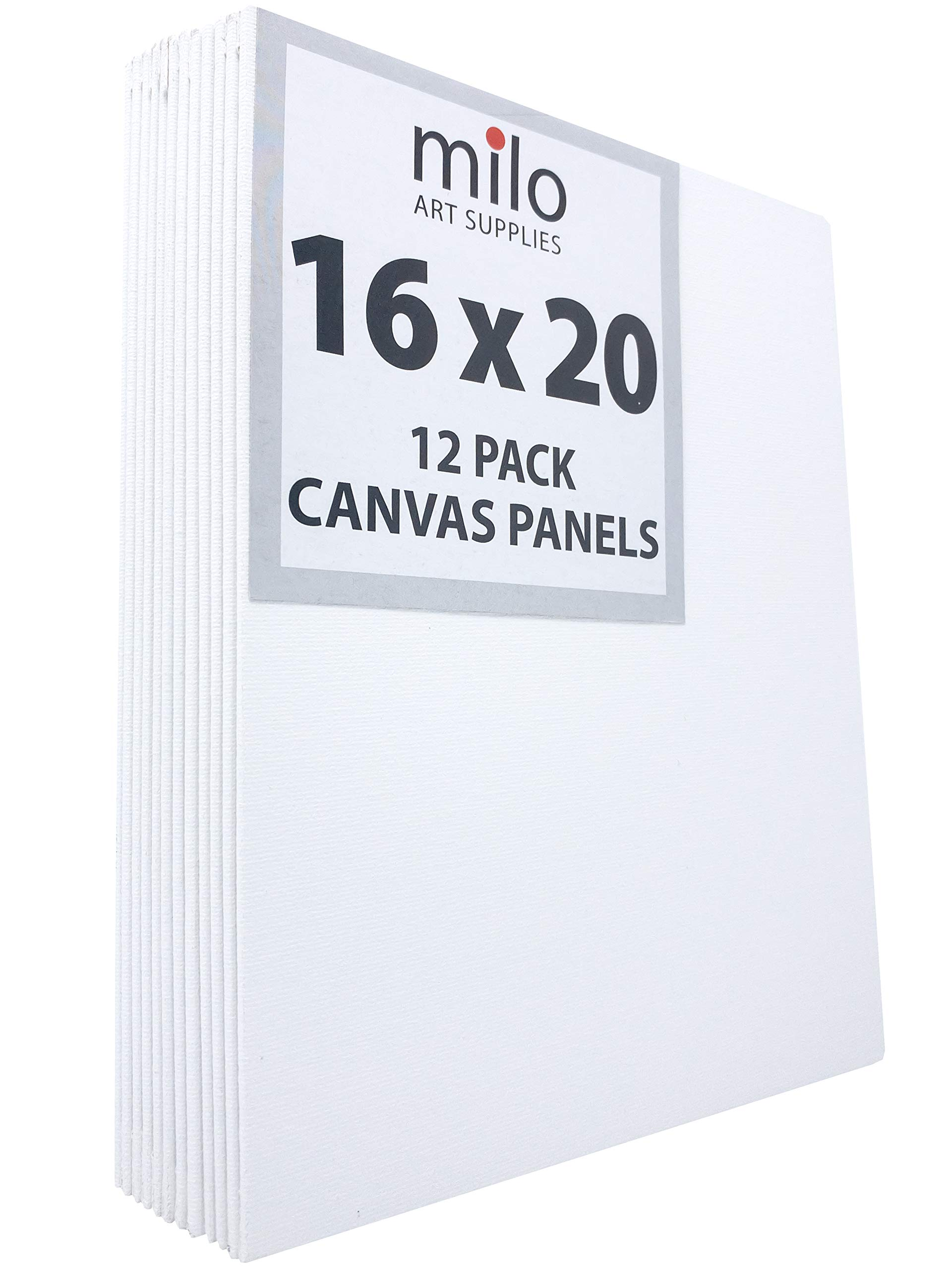 MILO | 16 x 20'' 12 Pack Canvas Panels | Bulk Set of 12 16x20 inch Canvases Panel Boards for Painting | Ready to Paint Art Supplies White Blank Artist Board by milo