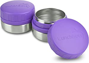 LunchBots Rounds Leak Proof 4 oz. Stainless Snack Container Jar, Set of 2, Purple Lid