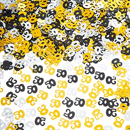 BIRTHDAY CONFETTI PARTY TABLE 50TH AGE 50 FIFTY BLACK//SILVER