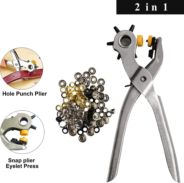 pinzas para ojales y ojales pinzas de presión (2 en 1) con 75 ojales para de cuero Artesanía bolso Tarjeta de goma - Cinturón de 5 agujeros Agujero Pinzas de perforación