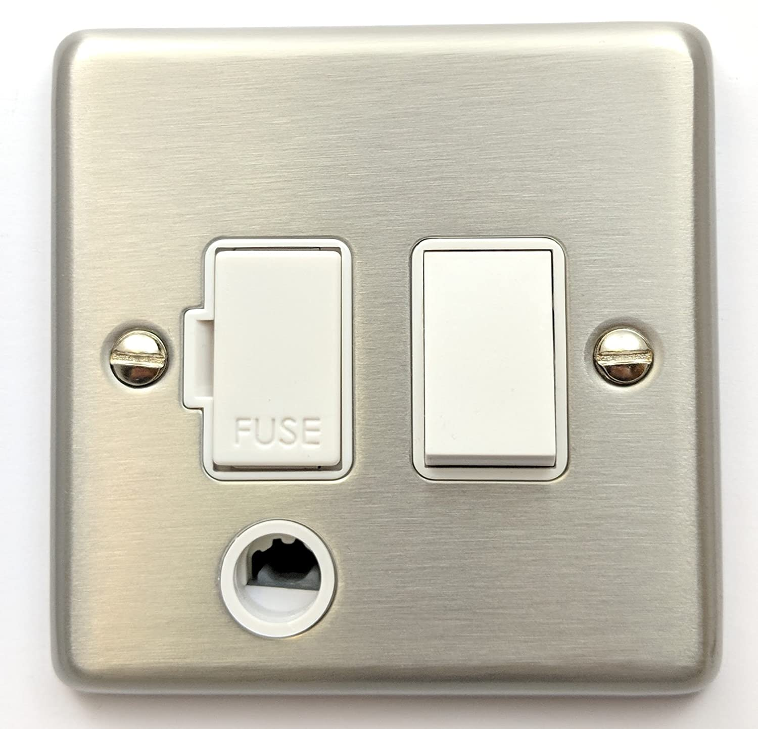 G&H CSS56W Standard Plate Brushed Steel 1 Gang Fused Spur 13A Switched & Flex Outlet G&H Brassware