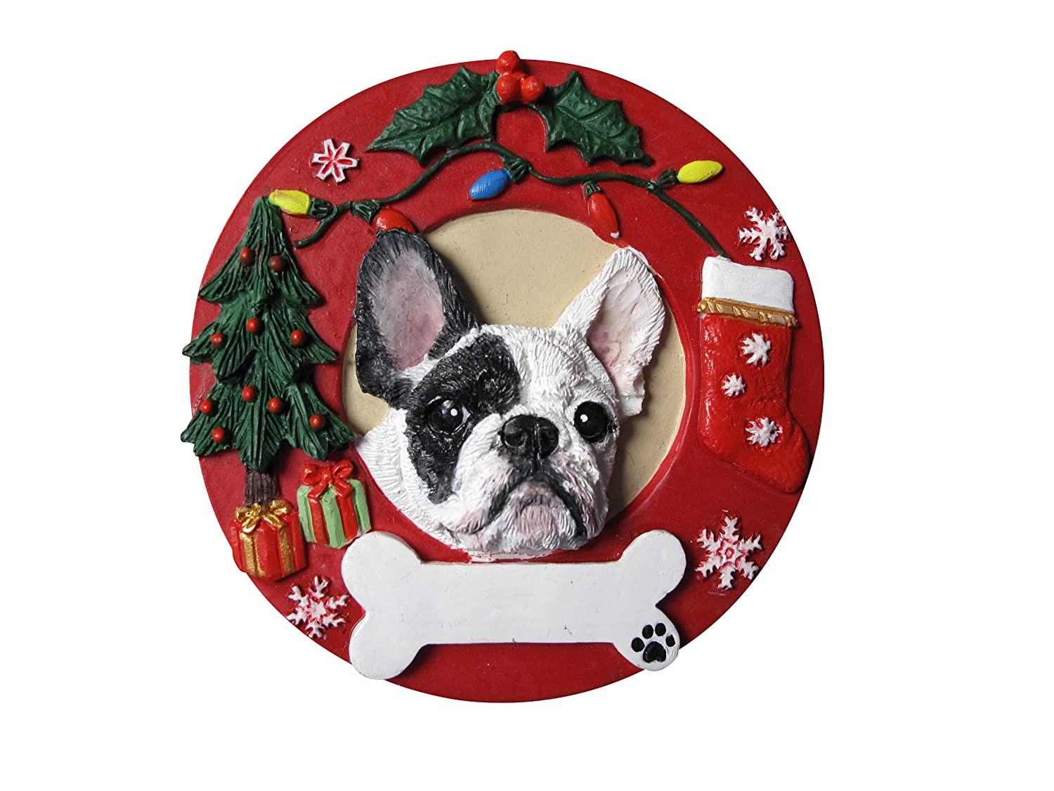 Amazon.com: French Bulldog Christmas Ornament Black and White ...