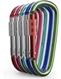 Aluminum Carabiner D Shape Buckle Pack, Keychain Clip, Spring Snap Key Chain Clip Hook Screw Gate Buckle -Pack of Assorted Color Carabiners