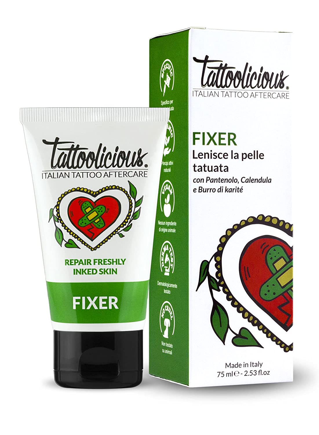 TATTOOLICIOUS® FIXER - 75 ml - Crema lenitiva biologica specifica per la cura del tatuaggio con ingredienti bio dalle proprietà cicatrizzanti Tattoolicious s.r.l.
