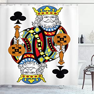 Ambesonne King Shower Curtain, King of Clubs Playing Gambling Poker Card Game Leisure Theme Without Frame Artwork, Cloth Fabric Bathroom Decor Set with Hooks, 70