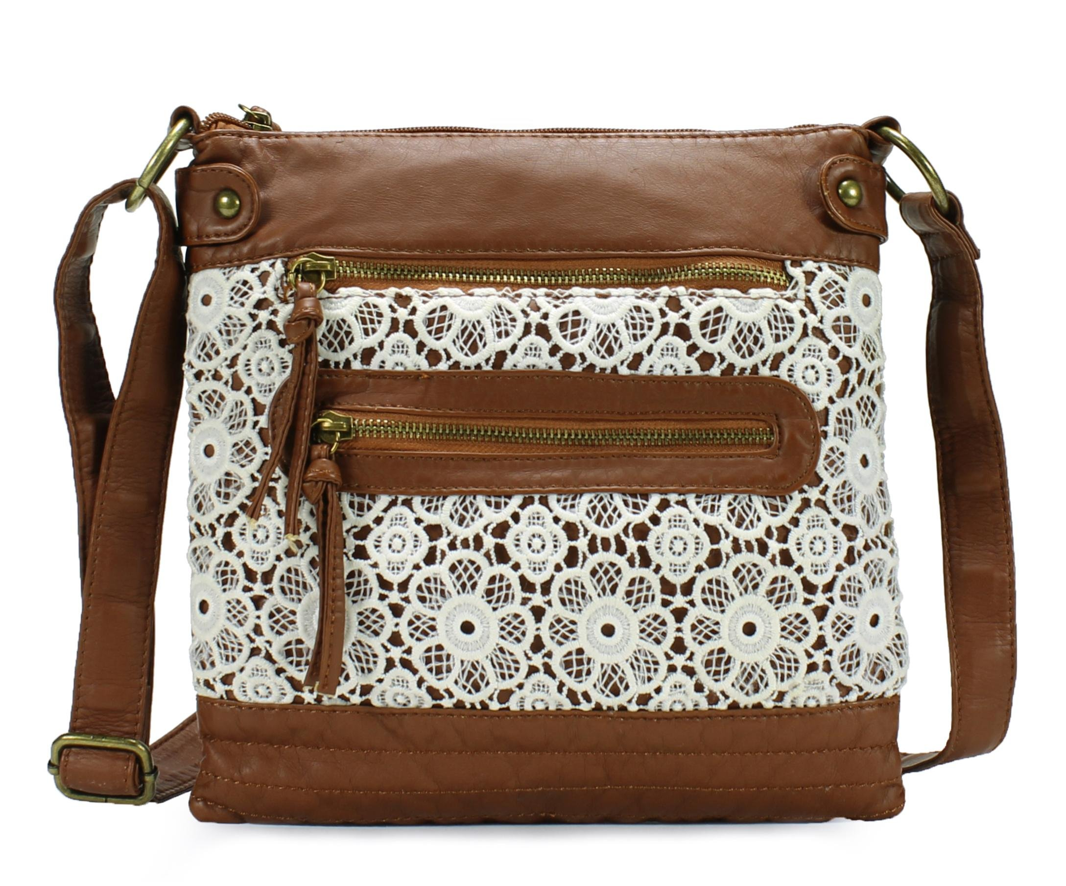 Scarleton Lace Style Crossbody Bag H190804 - Brown