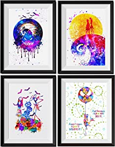 Uhomate 4 pcs Set Jack Sally Nightmare Before Christmas Abstract Art Home Canvas Wall Art Inspirational Quotes Wall Decor for Living Room for Bedroom M032 (11X14)