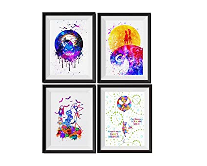 uhomate 4 pcs set jack sally nightmare before christmas abstract art home canvas wall art anniversary