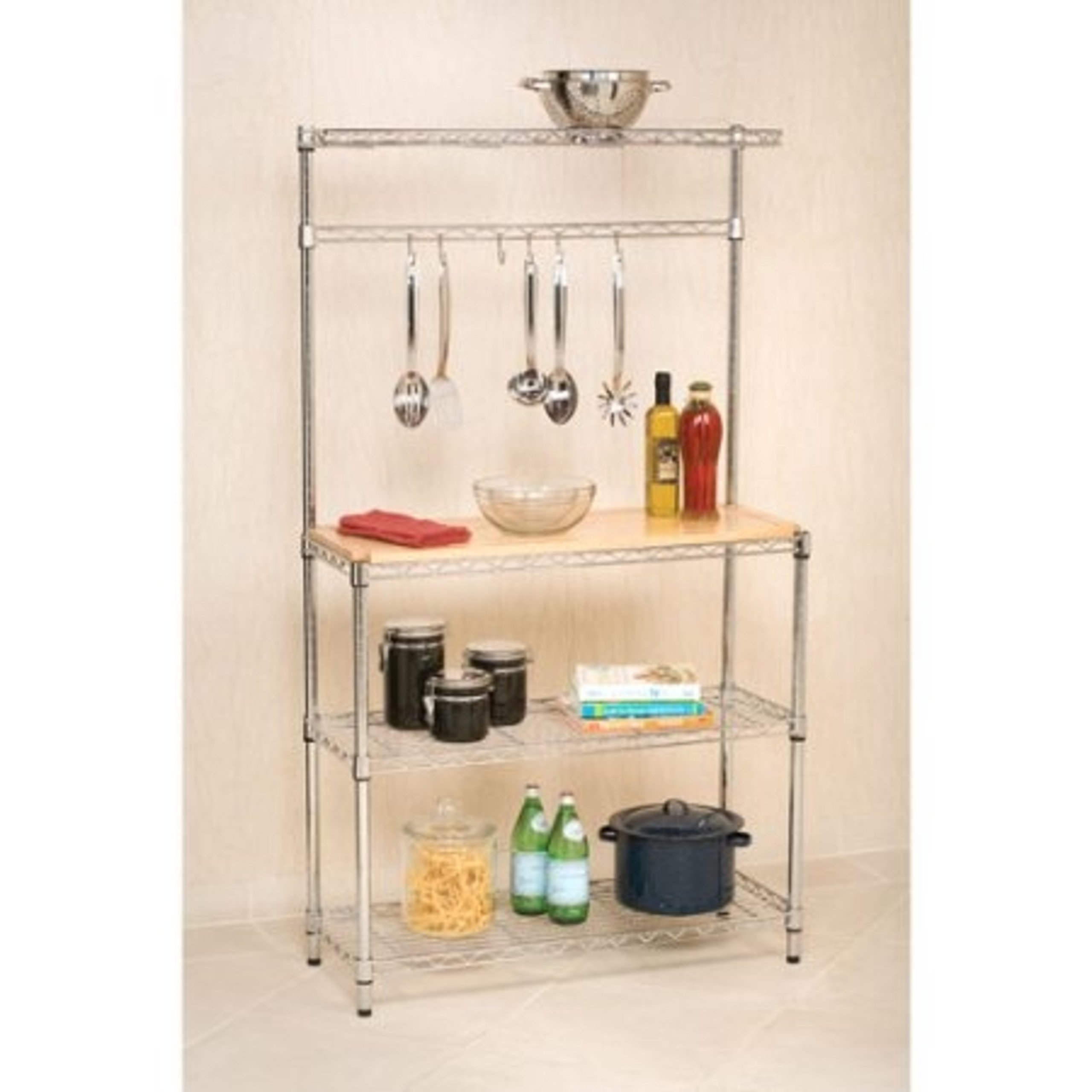 Wire Bakers Rack Workstation with Eco-Friendly Rubberwood Top