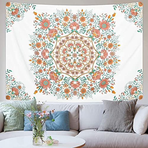 Bohemian Tapestry Floral Medallion Tapestry Sketched Flowers Tapestries Mandala Hippie Tapestry Wall Hanging for Room 70.9 92.5 inches