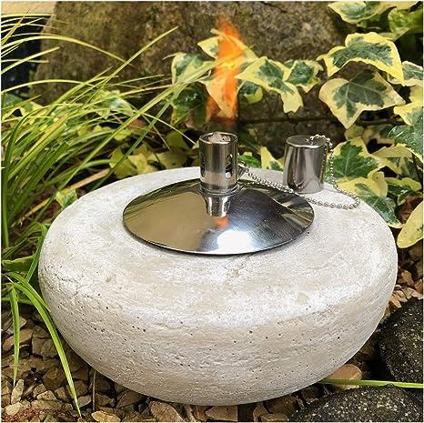 Antorcha de jardín, antorcha de aceite, antorcha de jardín, lámpara de mesa, piedra fundido con acero inoxidable: Amazon.es: Iluminación