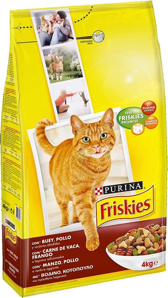 Purina Friskies Pienso para Gato Adulto Buey, Pollo y Verduras 4 x ...