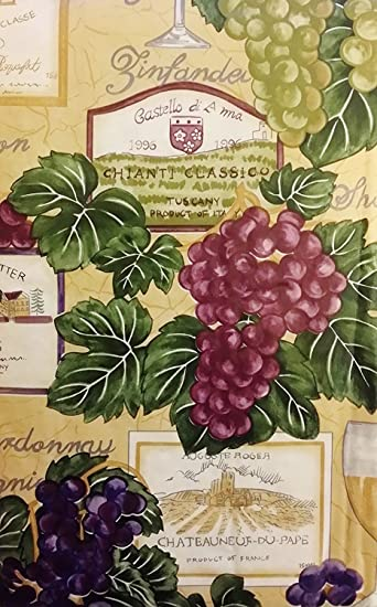 Vinyl Tablecloth With Flannel Back 60u0026quot; Round Tuscan Grape Wine