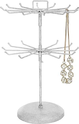 قلادة معدنية بيضاء عتيقة منظم مجوهرات برج وعقد وسوار شجرة عرض حامل مع مشبك شعر من ماي جيفت