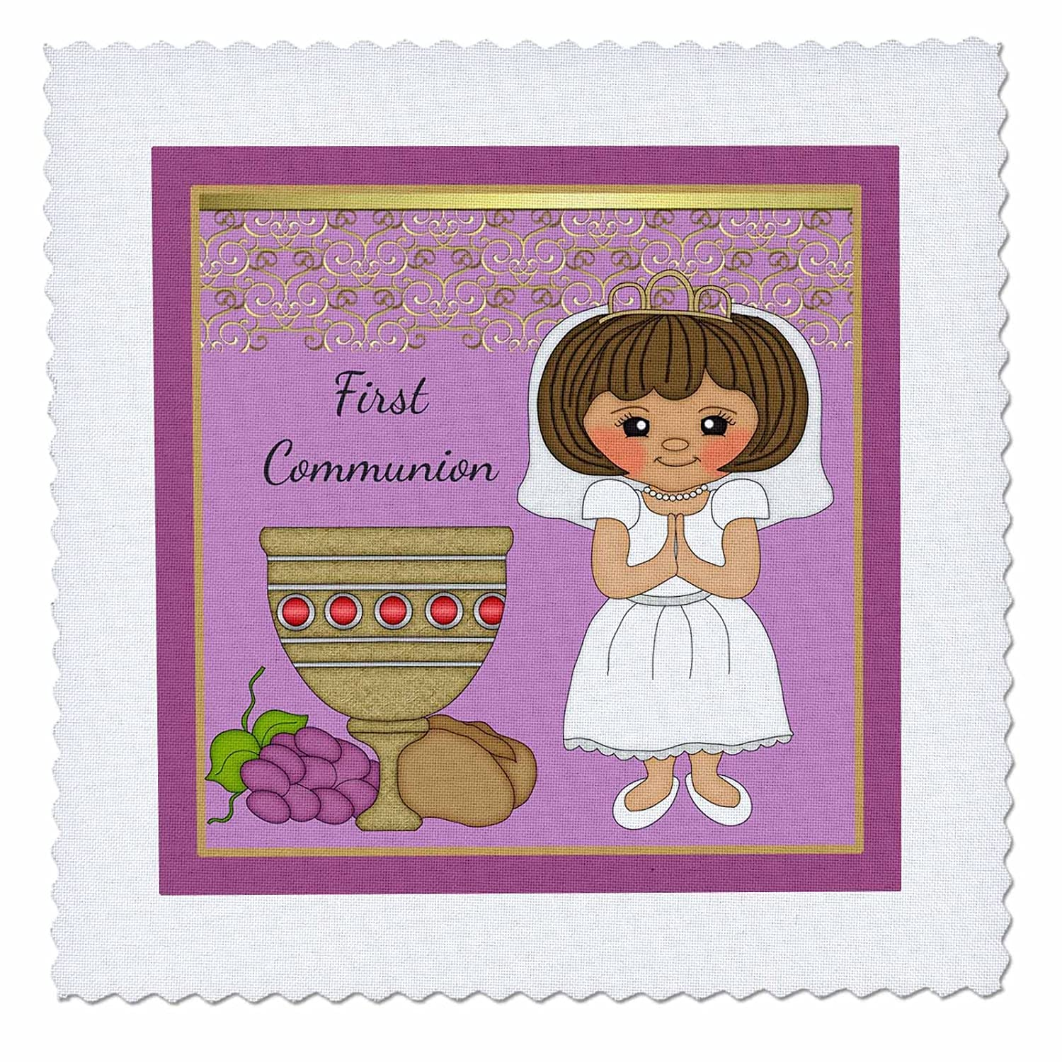 3D Rose First Communion Girl with Bread and Wine Purple Square Quilt 6 x 6