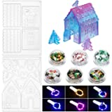 14 Pieces 3D Christmas Gingerbread House Silicone Mold Set Resin Epoxy Silicone Mold Fondant Mold with Copper Wire String Lig