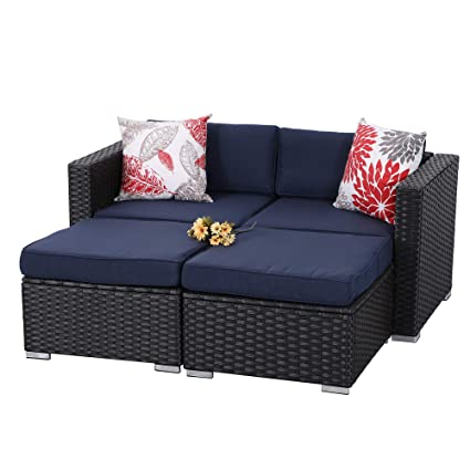 PHI VILLA 4-Piece Patio Furniture Daybed Set Rattan with Seat Cushions (Blue)