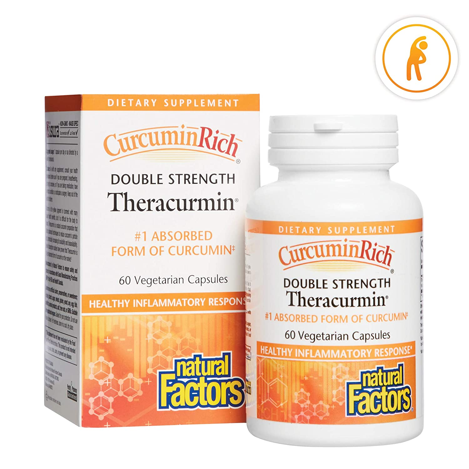 CurcuminRich Double Strength Theracurmin by Natural Factors, Supports Natural Inflammatory Response, Joint and Heart Function, 60 capsules 60 servings