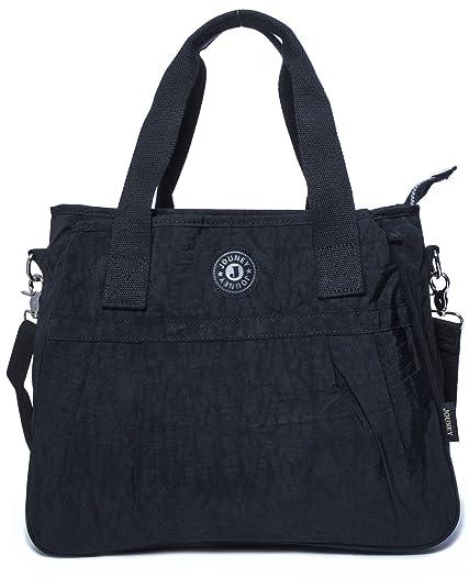 esthétique de luxe images officielles doux et léger BHBS Grand en Tissu 3 Compartiment Shopping Fourre-Tout Sac à Main épaule  (Black)
