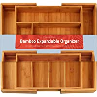 Bamboo Expandable Cutlery Tray - Silverware & Utensils Organizer - 8 Compartment - by Utopia Kitchen