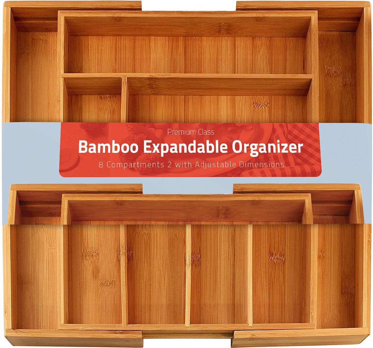 Utopia Kitchen Bamboo Expandable Cutlery Tray - Silverware & Utensils Organizer - 8 Compartment