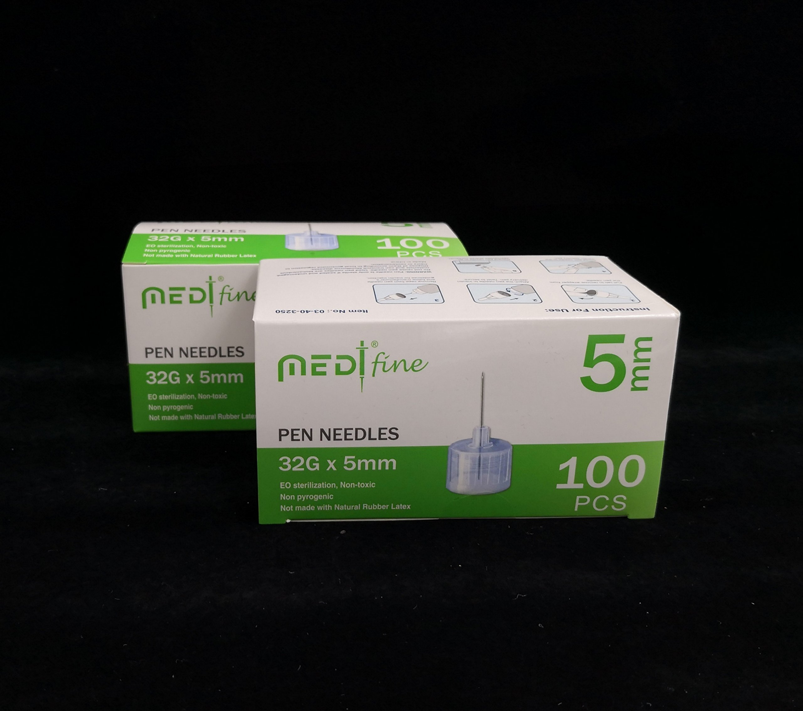 Medtfine Insulin Pen Needles 32g 5mm 200 Pieces 2x100