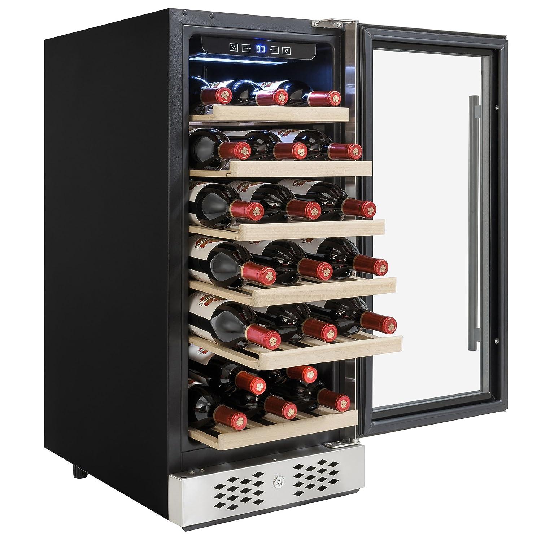 AKDY 30 Bottles Single Zone Adjustable Temperature Compressor Function Freestanding Wine Cooler Cellar AZ-WC0033