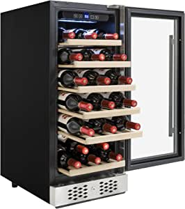 AKDY 30 Bottles Single Zone Adjustable Temperature Compressor Function Freestanding Wine Cooler Cellar