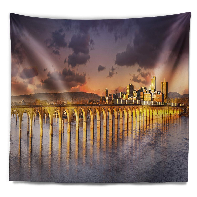 Designart TAP11522-80-68 Pennsylvania Railroad Bridge Skyline Wall Tapestry X-Large//80 x 68