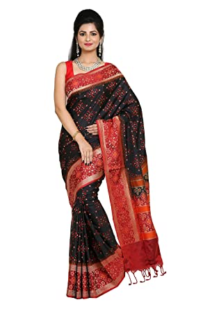 99932a46e5 Image Unavailable. Image not available for. Color: Black Color Pure  Handloom Banarasi Silk Saree