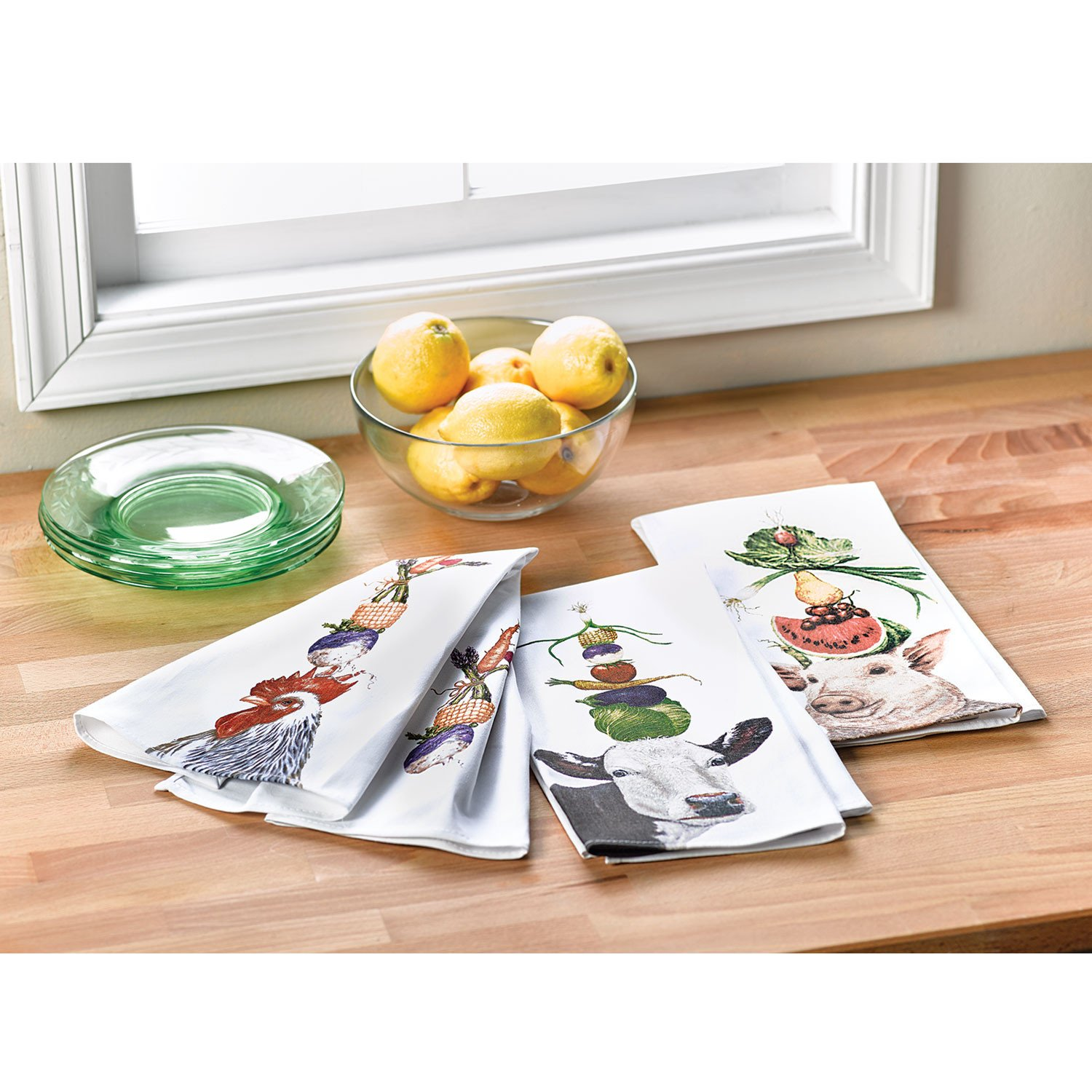 Paperproducts Design Farm Animal Kitchen Towel Set - 3 Pieces in 100% Cotton - by Vickie Sawyer